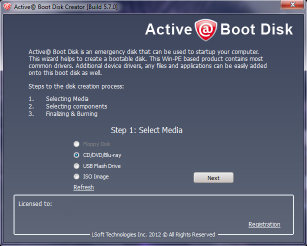 Boot Disk main screen
