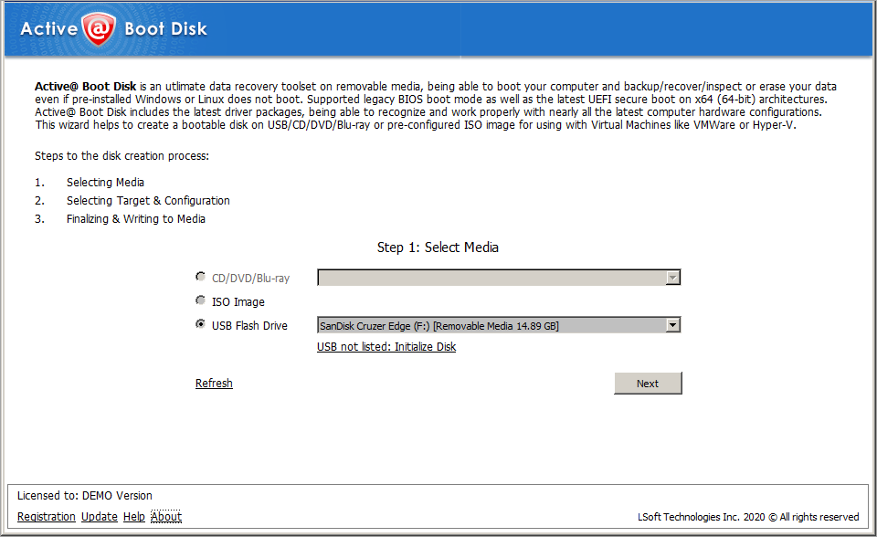 Active@ Boot Disk provides disk utilities